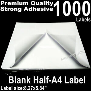 1000 Half A4 Labels Self Adhesive Tag Label Sticker Shipping Address 2tags Paper