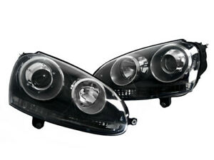 Black Euro Projector Headlights For 06 09 Vw Mk5 Rabbit Gti Jetta