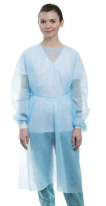 10 Isolation Gown W Knit Cuff Disposable Dental Medical Breathable blue Valumax