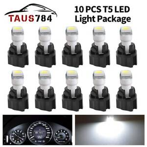 10pcs T5 74 37 Led Bulb Package Kit White Car Dashboard Dash Light twist Socket