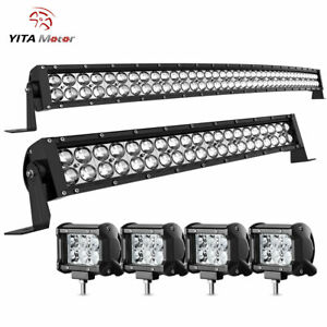 42inch Curved Led Light Bar 22in Combo 4 Pods For Ford Jeep Offroad Suv Truck