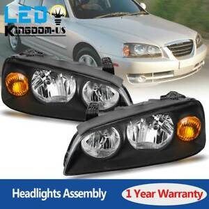 Black Headlight Assembly For 2004 2005 2006 Hyundai Elantra Headlamp Replacement
