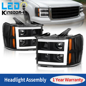 For 2007 2013 Gmc Sierra 1500 2500 3500hd Led Drl Projector Headlights Lamps