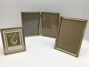 Vintage Gold Embossed Metal Picture Frame Lot Of 3 5x7 3x4 Double Art Deco