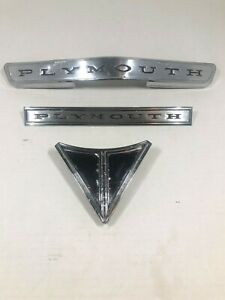 1965 Plymouth Valiant Emblems Hood trunklid 3pc Oem 2526266