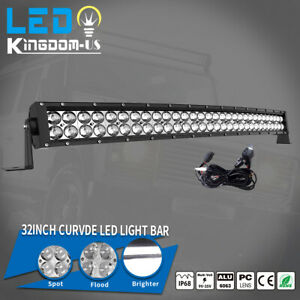 32inch 420w Curved Led Light Bar Combo Free Wiring Set Offroad Truck 4x4 Atv Suv