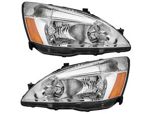 Headlights Headlamps Replacement For 2003 2007 Accord Driver Passenger Pair