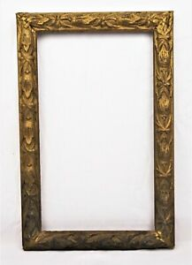 Antique Art Nouveau Ornate Gold Painted Gesso Picture Frame Fits 13 X 7 5