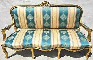 Lovely 66 Antique Vintage French Louis Xv Style Gold Leaf Gilt Open Arm Sofa