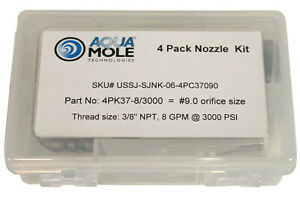 Aqua Mole 4 Pack 3 8 Npt Button Nose Sewer Jetter Nozzle 3000 Psi 9 0 Orifice