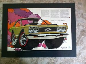 1968 Plymouth Rts Gtx Roadrunner 383 440 426 Hemi Original Print Car Ad 1969