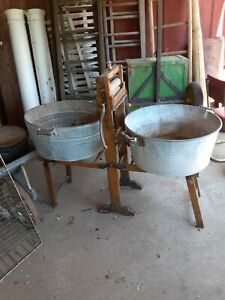 Antique Wooden Wringer Washer With Fold Out Stands And Two Round Wash Tubs