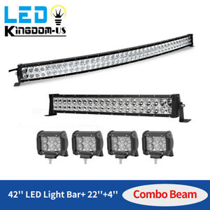 42inch Led Light Bar Curved 22in Combo 4 Pods Fits Ford Jeep Suv Truck Marine