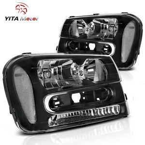 Yitamotor For 2002 2009 Chevy Trailblazer Clear Corner Black Headlight Headlamp