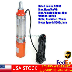 320w Dc 24v 5m h Electric Pump Solar Submersible Deep Well Water Pump 25m Usa