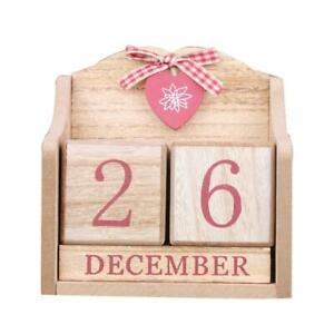 Wooden Red Desk Calendar Classic Perpetual Block Cube Manual Home Office Decor