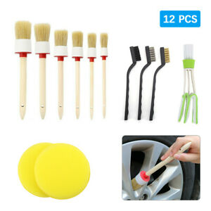 12 5x Car Interior Detailing Brush Boar Hair Wheel Air Conditione Cleaning Tools