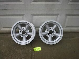 Pair 15x6 Et Torque Thrust Style With Round Wheels Steel Back Ford Chev Unalug