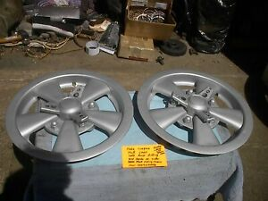 Pair Of Fake Cragar Style14 Inch Hub Caps Blasted And Painted Vht Aluminum Color