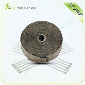 2 X 50ft 1 Roll Thermal Header Pipe Tape Titanium Lava Exhaust Wrap W Ties Kit