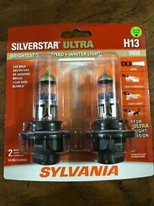 Sylvania Silverstar Ultra H13 9008 High Performance Headlight Bulbs New 2 Pack