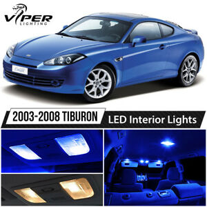 Blue Interior Led Lights Package Kit For 2003 2008 Hyundai Tiburon