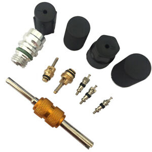R134a Air Conditioning Auto Car Valve Core A C System Caps Kit With Remover Tool