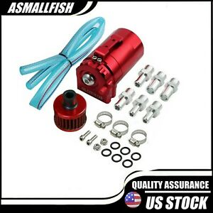 Cylinder Engine Oil Catch Reservoir Breather Aluminum Can Tank Filter Kit Red