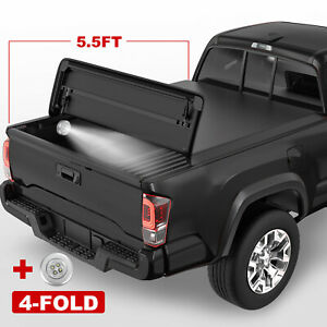 4 fold Black Soft Tonneau Cover For 2015 2021 Ford F 150 F150 Truck 5 5ft Bed