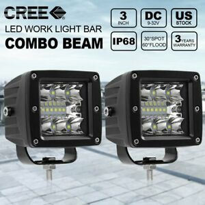 2x 3inch 60w Led Work Light Cube Pods Driving Work Fog Spot Light Flood 12v 24v