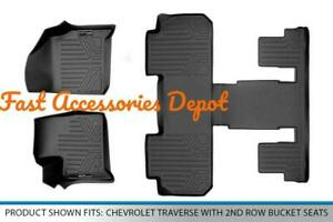 Smartliner Floor Mats 3 Row Liner Set Black For 2018 2020 Chevrolet Traverse
