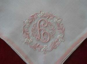 Vintage Madeira Wedding Hanky Monogram L Pink Floral Wreath Embroidery
