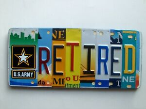 U s Army Retired Art License Plate Sign