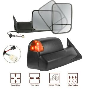 Towing Mirrors Power Heated Led Signal Lights For 98 02 Dodge Ram 1500 2500 3500