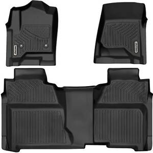 Oedro Floor Mats Liners Tpe For 2014 2018 Chevy Silverado Crew Cab All weather