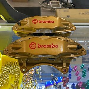 Subaru Sti Front Calipers Brembo 4pot 4 Piston Gold Impreza Wrx 04 05 06 07