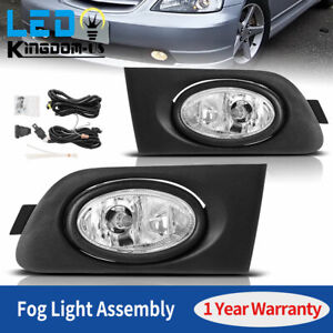 2x For 2001 2003 Honda Civic 2 4dr Clear Fog Light W bulb Kits Replacement Us