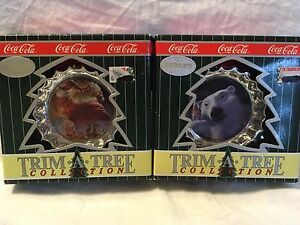 Lot of 2 Coca Cola Bottle Caps Christmas Ornaments by Trim-A-Tree