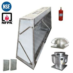 4 Ft Low Profile Restaurant Makeup Air Hood Captiveaire Fan Fire System