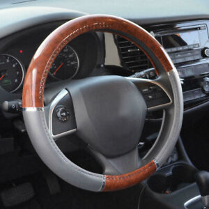 Wood Grain Steering Wheel Cover 38cm For Auto Car Suv Lux Grip Gray Syn Leather