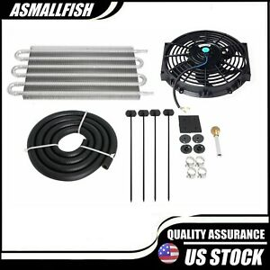 6 Row Radiator Remote Aluminum Transmission Oil Cooler 10 Cooling Fan W Kit