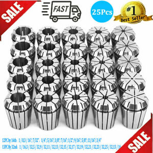 Er32 Collets Set 25pcs High Accurate Spring Steel 12pcs By 16th 13pcs By 32nd