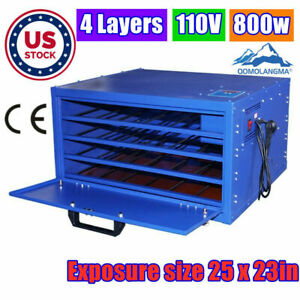 Us Stock 800w Silk Screen Printing Drying Cabinet 4 Layers Warming Exposure Unit