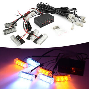 18 Led Amber White Car Truck Strobe Emergency Warning Light For Deck Dash Grille