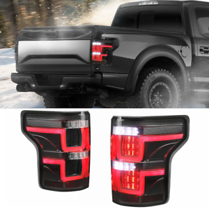 Set 2 Smoke Tinted Full Led Tail Lights Rear Lamps For 15 17 Ford F150 Lh Rh