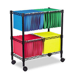 2 Tier Rolling File Cart Rack Documents Organizer Locking Castors School Office
