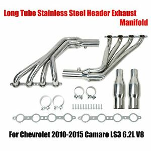 For 10 15 Camaro Ss Ls3 6 2l V8 Long Tube Stainless Header Exhaust Manifold