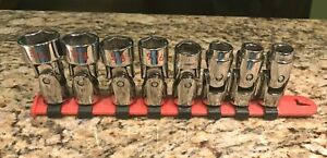 Matco Tools 8 Piece 3 8 Sae Chrome Swivel Universal Socket Set Excellent