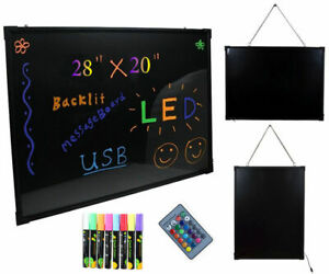 Led Message Menu Sign Writing Board Flashing Illuminated Erasable Neon 28 20