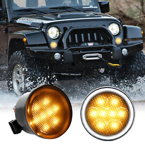 Front Amber Led Turn Signal Lights Smoke Lens W drl For Jeep Wrangler Jk 07 17